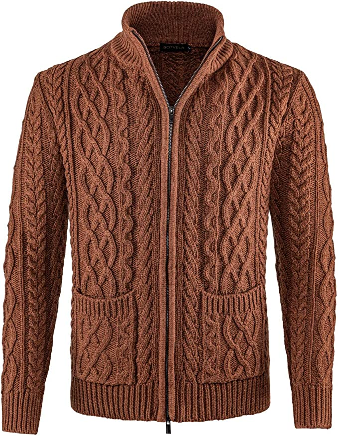Men's Vintage Sweaters, Retro Jumpers 1920s to 1980s BOTVELA Mens Zipper Cardigan Sweater Casual Stand Collar Cable Knitted Sweater with Pockets $29.99 AT vintagedancer.com