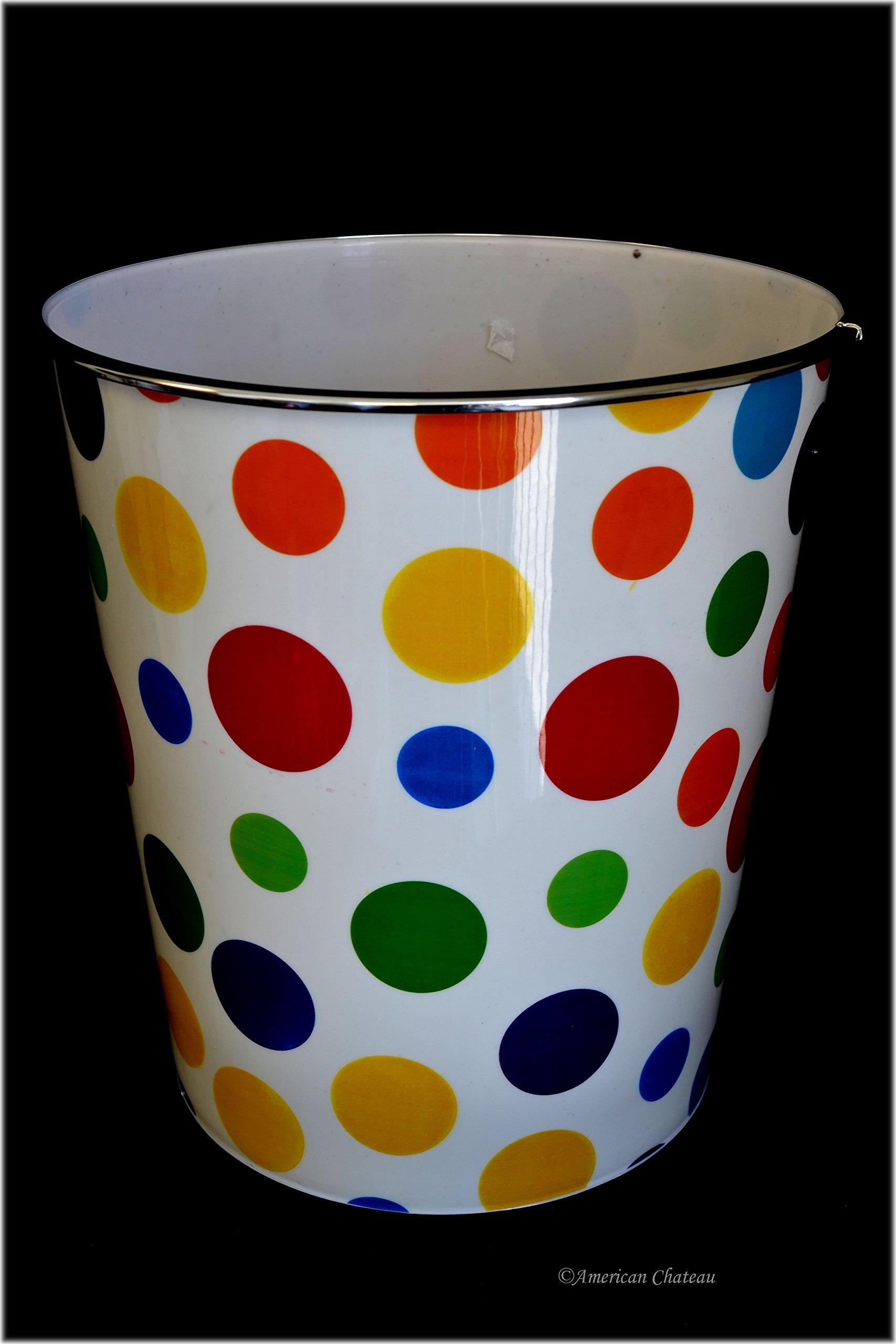 American Chateau Bathroom/Kids Room 10'' Retro Polka Dots Waste Basket Trash Can Garbage Bin