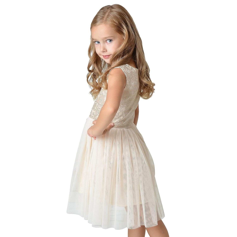 Sanlutoz Ragazze Festa Nozze doro Tulle Increspatura Vestito Abbigliamento per Bambini