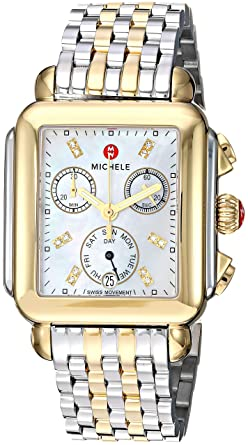 Michele Women S Deco Diamond Two Tone Stainless Steel Watch
