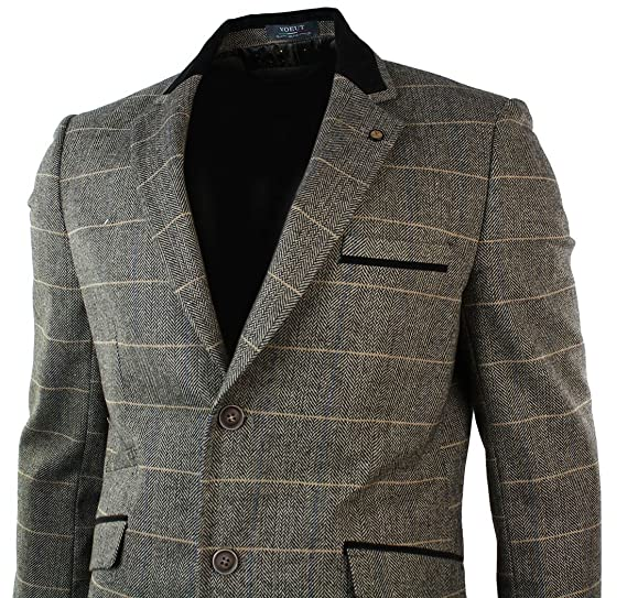 0e8f98011c9c Mens Check Tweed Blazer Vintage Jacket Herringbone Grey Brown Retro Smart  Casual Fit: Amazon.co.uk: Clothing