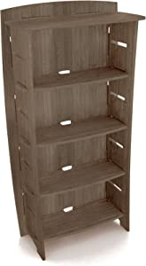 Legaré Furniture 4-Tier Shelf Bookcase, Storage Organizer with Adjustable Shelves for the Home, Office, or Work Space, Grey Driftwood