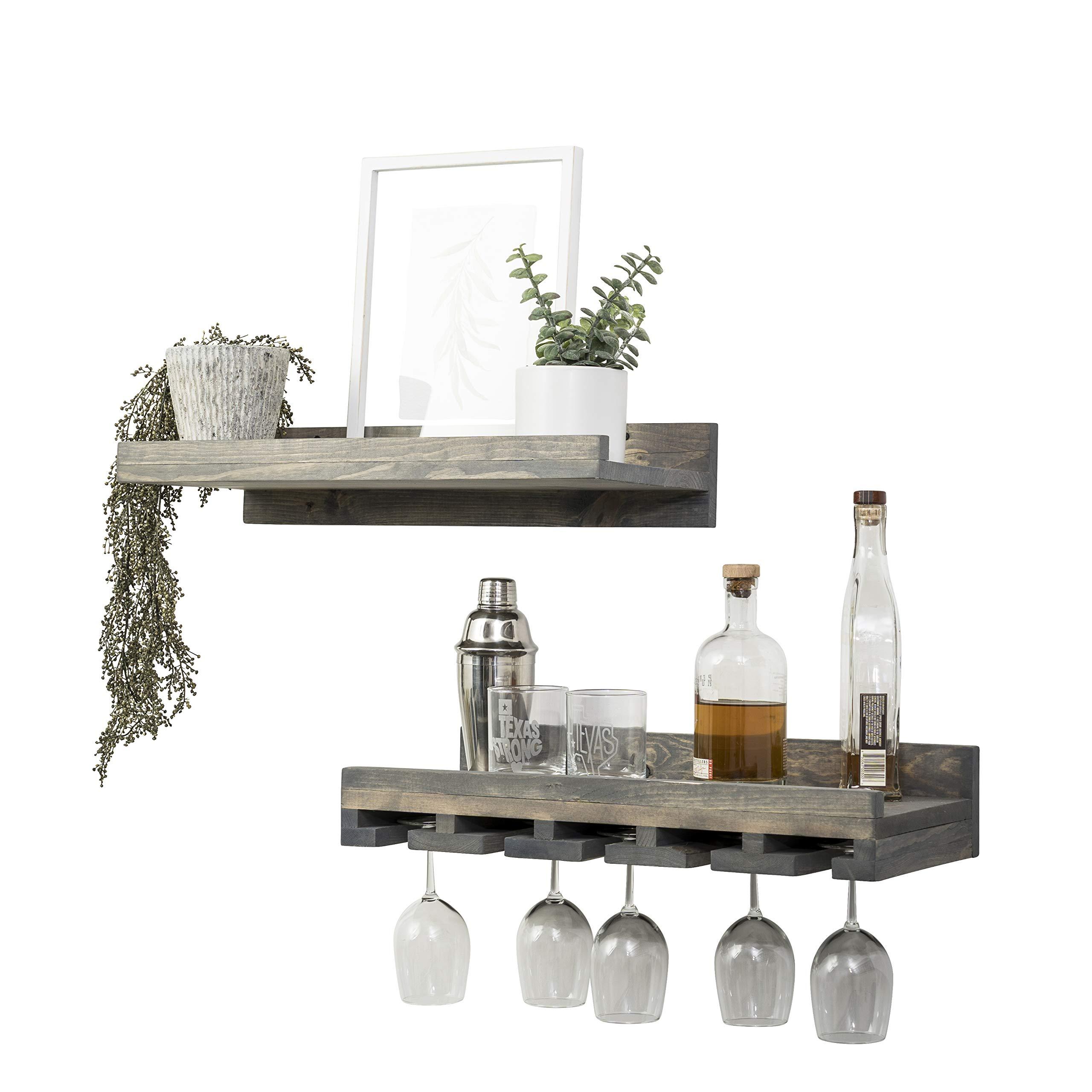 Del Hutson Designs Floating Wine Shelf and Glass Rack Set (Wall Mounted), Rustic Pine Wood Handmade (Grey)