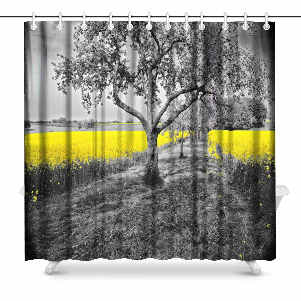 INTERESTPRINT Shining Yellow Oilseed Rape Fields In A Black And White Landscape Scene Decor Art Print Bathroom Shower Curtain Decorations Fabric Extra