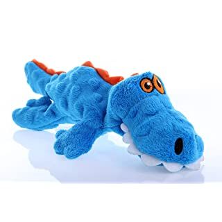 goDog Gators With Chew Guard Technology Tough Plush Dog Toy, Blue, Small