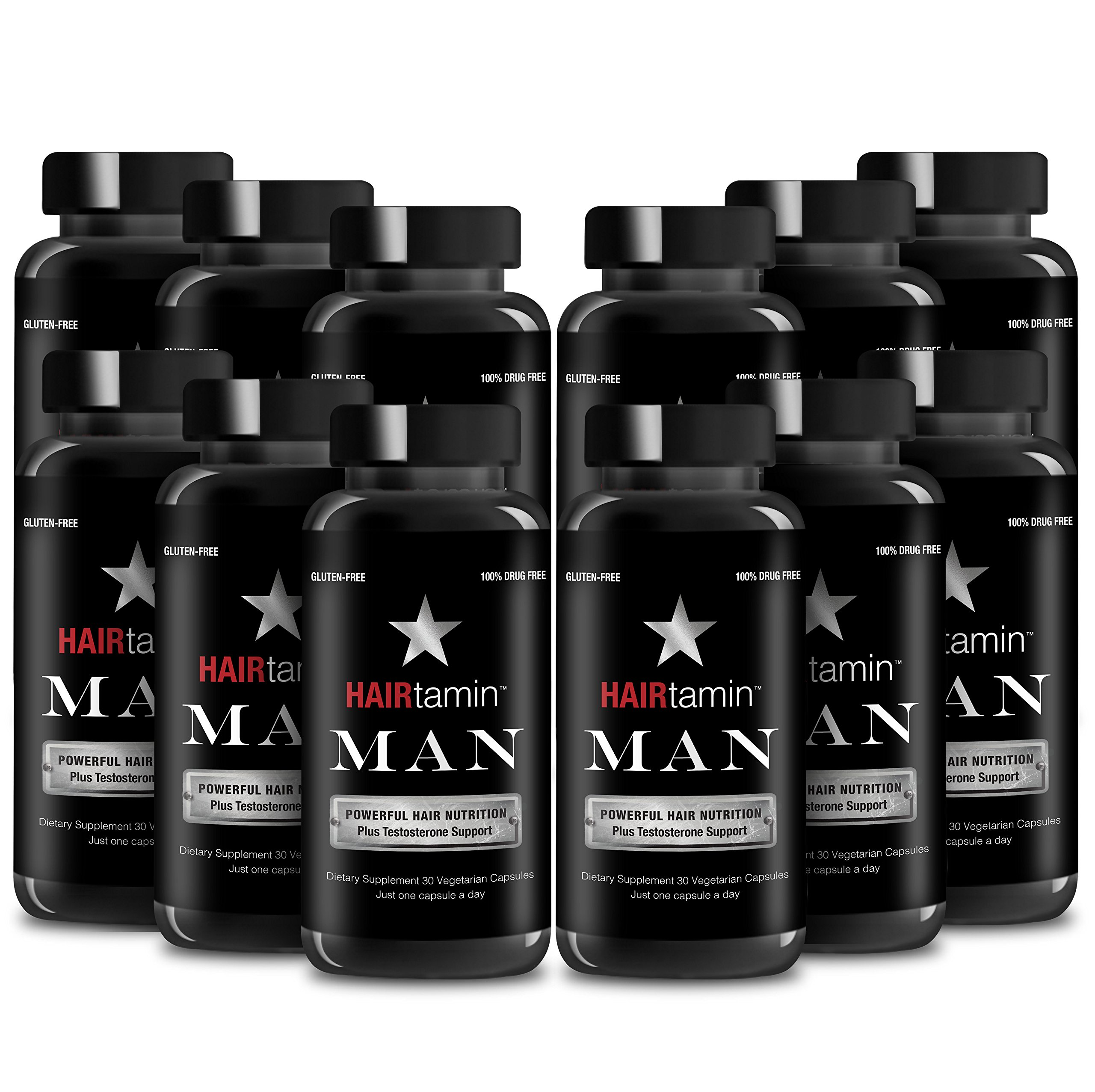 HAIRtamin MAN Formula - Fast Hair Growth Biotin Vitamins Gluten Free thirty Vegetarian Capsules Supports Stronger Longer Thicker Hair Reduces Hair Loss and Thinning All Natural Supplement twelve pack