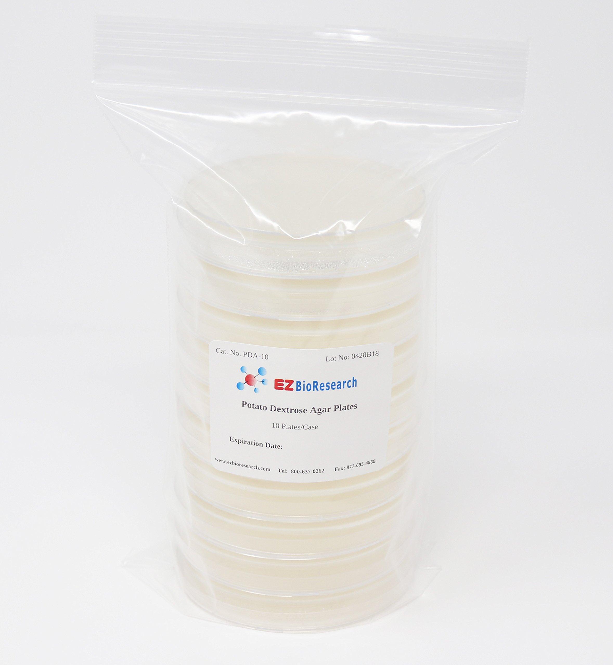 EZ BioResearch Potato Dextrose Agar (PDA) Plates for Mushroom Cultivation (10 Prepoured Agar Plates) by EZ BioResearch