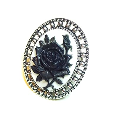 0a000994836 Gothic Black & White Rose Cameo Ring - Adjustable: Amazon.ca: Jewelry