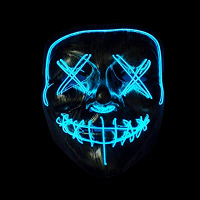 CANASOUR Frightening Wire Halloween LED Light up Mask for Festival Parties Cosplay Costume (Golden-Blue): Clothing
