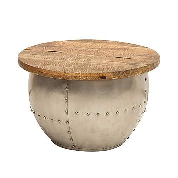 Tischplatte massivholz  Riess Ambiente Design Couchtisch DRUMP Storage Natural Mangoholz Industrial  Tischplatte aus Massivholz Wohnzimmertisch Tisch