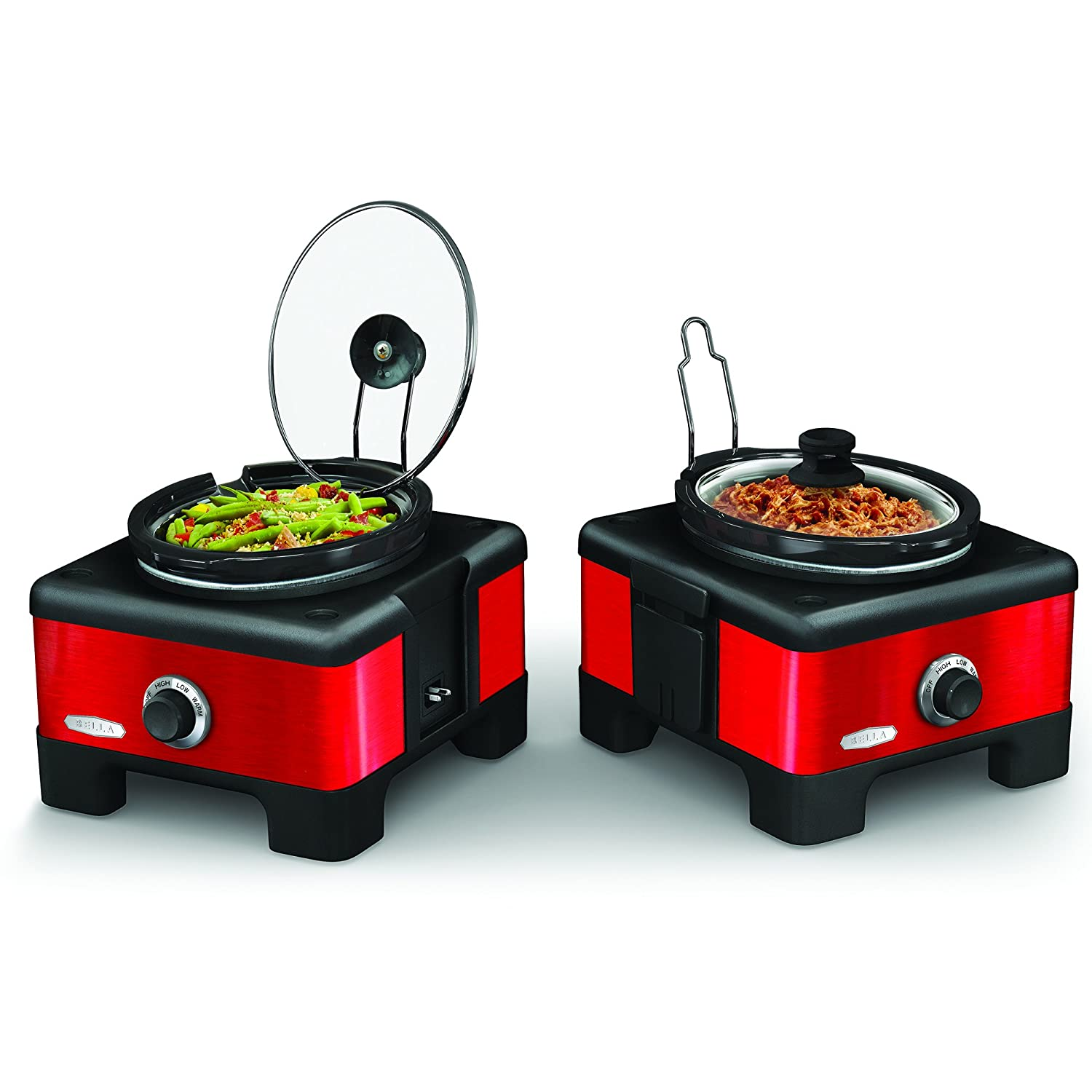 BELLA 13972 Connectable Entertaining Slow Cooker System, Red