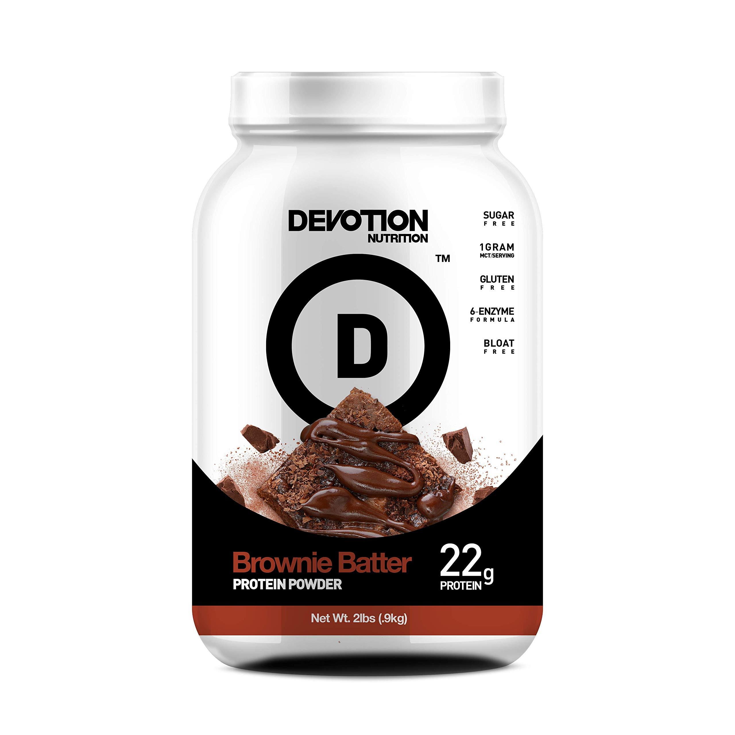 Devotion Nutrition Protein Powder, Brownie Batter, 20 Grams Protein, 1 Gram Mct, Protein Baking Powder, Whey Protein Powder, Low Carb Protein, 2 Pound Tub, 1 Count by Devotion Nutrition