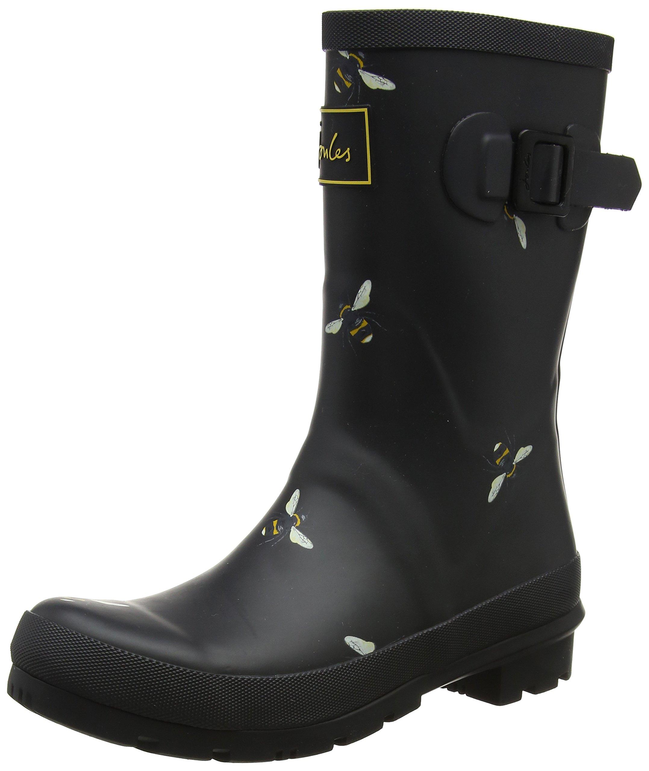 Joules Women's Mollywelly Rain Boot,Black Botanical Bees,8 Medium US