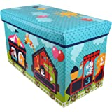 Baby Grow Children Storage Box Folding Stool Under Lid Padded Seat Large (Blue Circus)