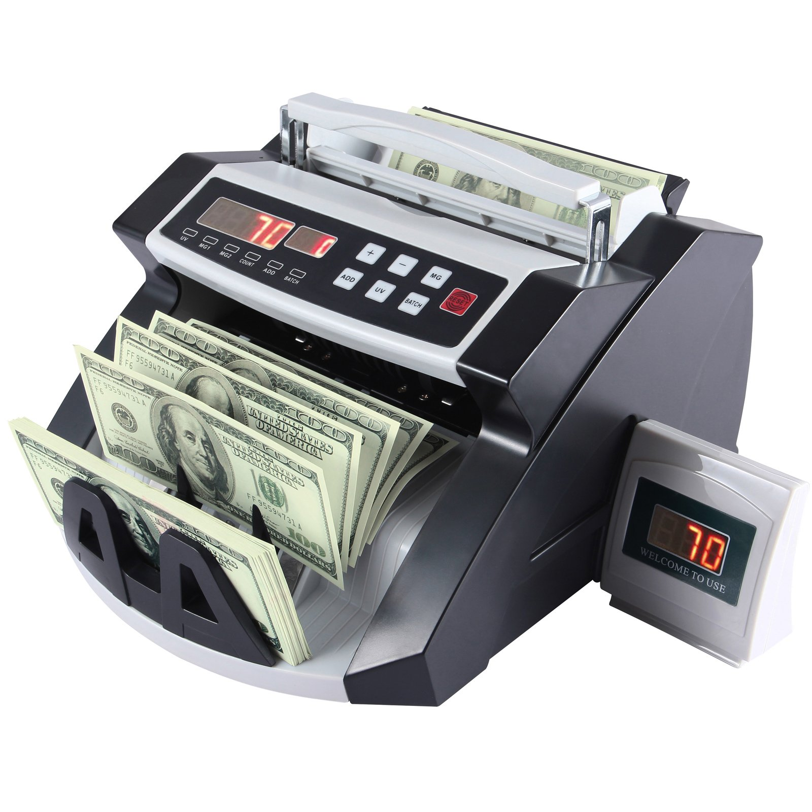 Cash Bill Counter-KUPPET Worldwide Money Currency Counting Machine-Bank Counterfeit Detector with Automatic Ultra Violet & Magnetic Detection Systems and LCD Display-Grey