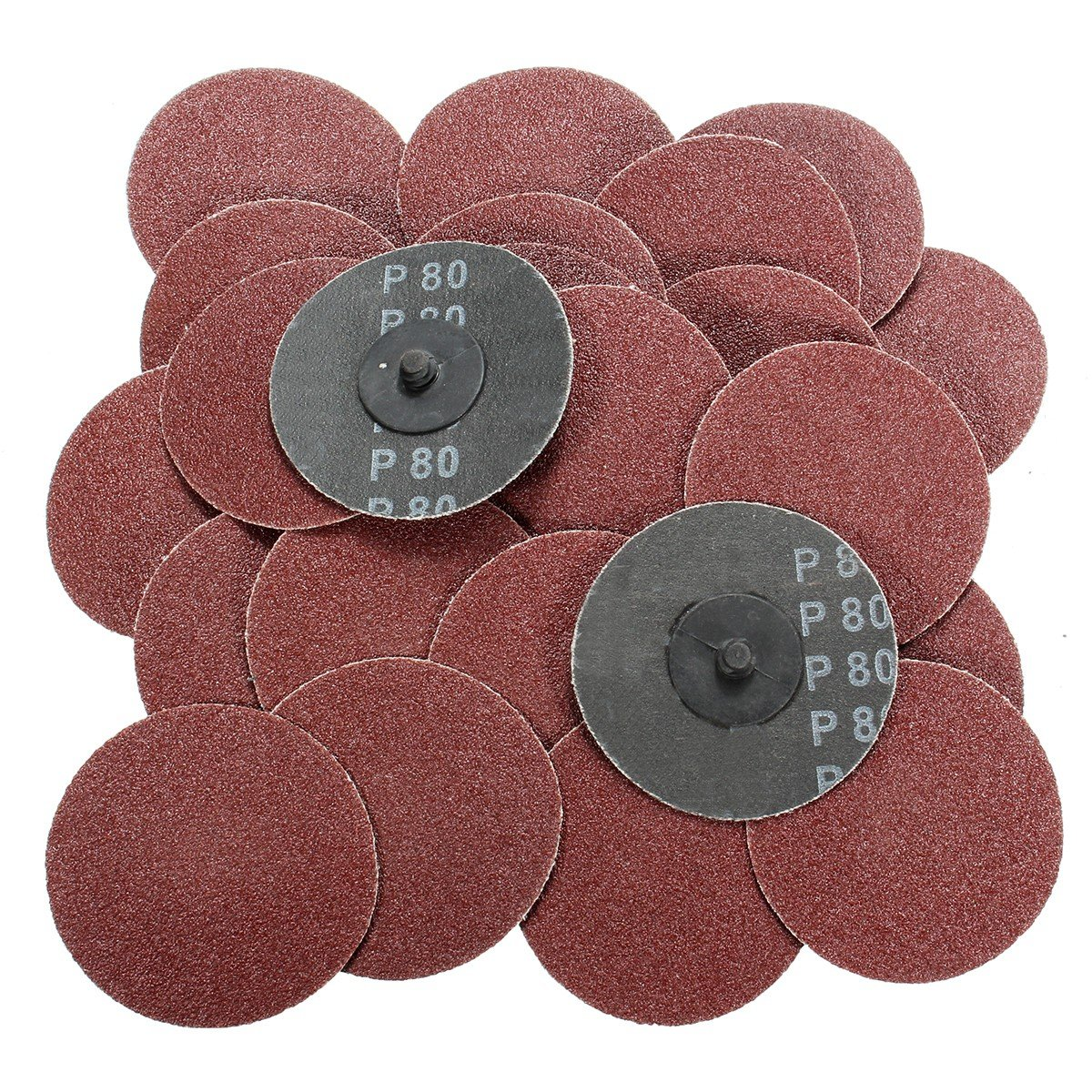 Jeteven 3 Inch 80 Grit Roll Lock Sanding Discs 50 PCS Grinding Discs Abrasive Paper Sandpaper High Density Planting Sand for Rotary Tools 3 Inch