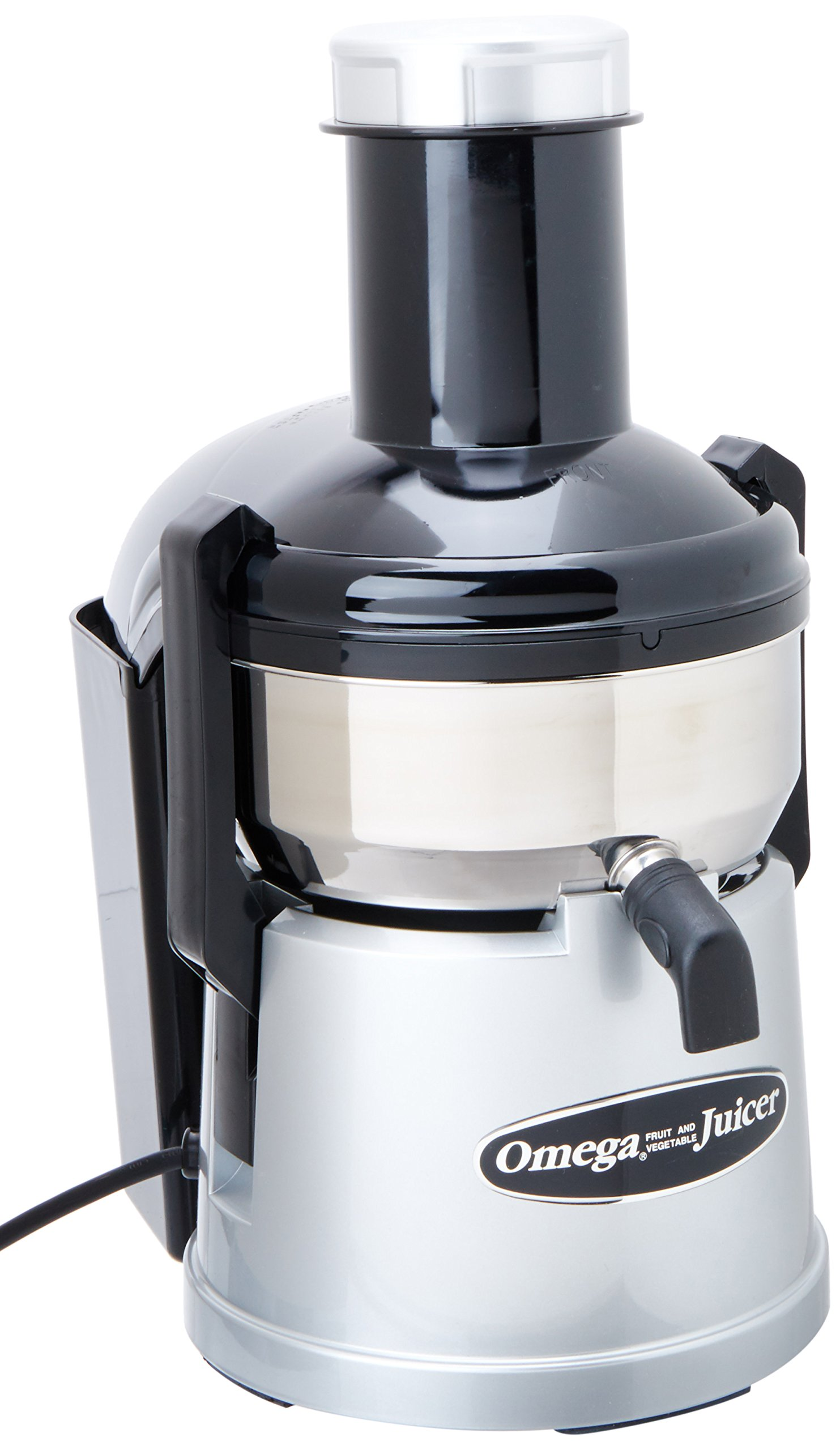 Omega BMJ330 Mega Mouth Juicer with Extra Large Feed Chute for Larger Portions of Fruits and Vegetables Ejection with Pulp Catch Bucket, 375W, Silver by Omega