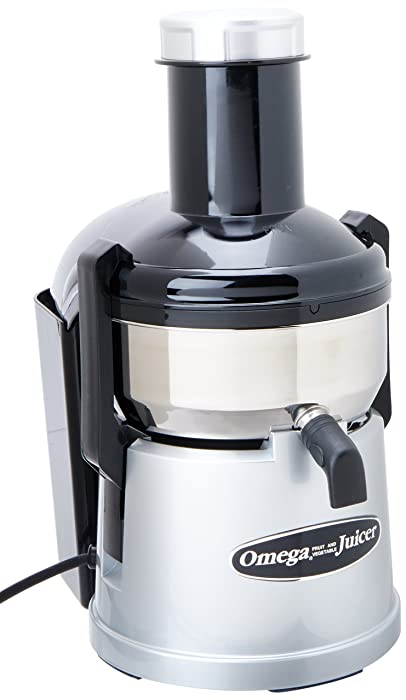 Omega BMJ330 Mega Mouth Juicer with Extra Large Feed Chute for Larger Portions of Fruits and Vegetables Pulp Ejection with Pulp Catch Bucket 375-Watt, Stainless Steel