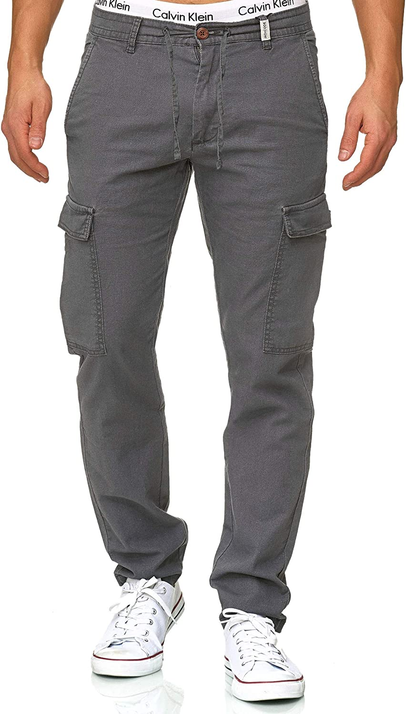 Indicode Caballeros Leonardo Pantalón Cargo En 55% Lino Y 45% Algodón 6 Bolsillos | Largo Regular Fit Pantalones De Tiempo Libre Cómodo Tela para Hombres