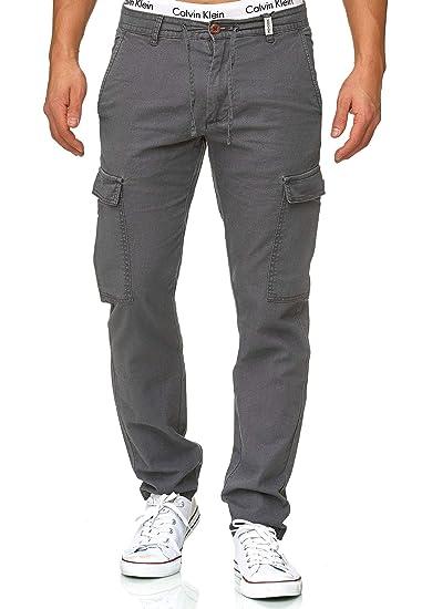 a8a1e7b19 Indicode Homme Pantalons Casual Lin Pantalon Cargo en Tissu Confortable  Leonardo