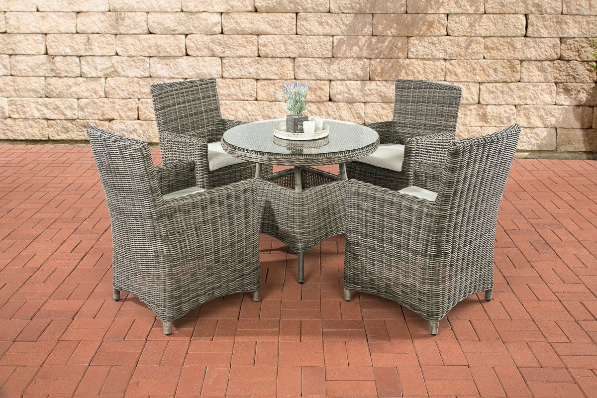 CLP Polyrattan Sitzgruppe CASOLI, grau-meliert (4 Stühle mit Tisch 90 x 90 cm) INKL. bequemen Sitzkissen, Premiumqualität: 5 mm Rund-Rattan grau-meliert, Bezugfarbe creme