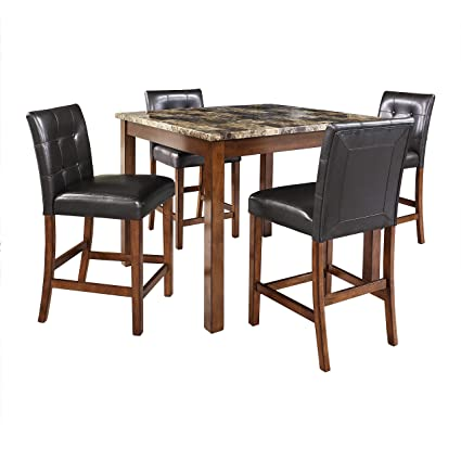 Awe Inspiring Dorel Living Andover Faux Marble Counter Height Dining Set Beutiful Home Inspiration Truamahrainfo