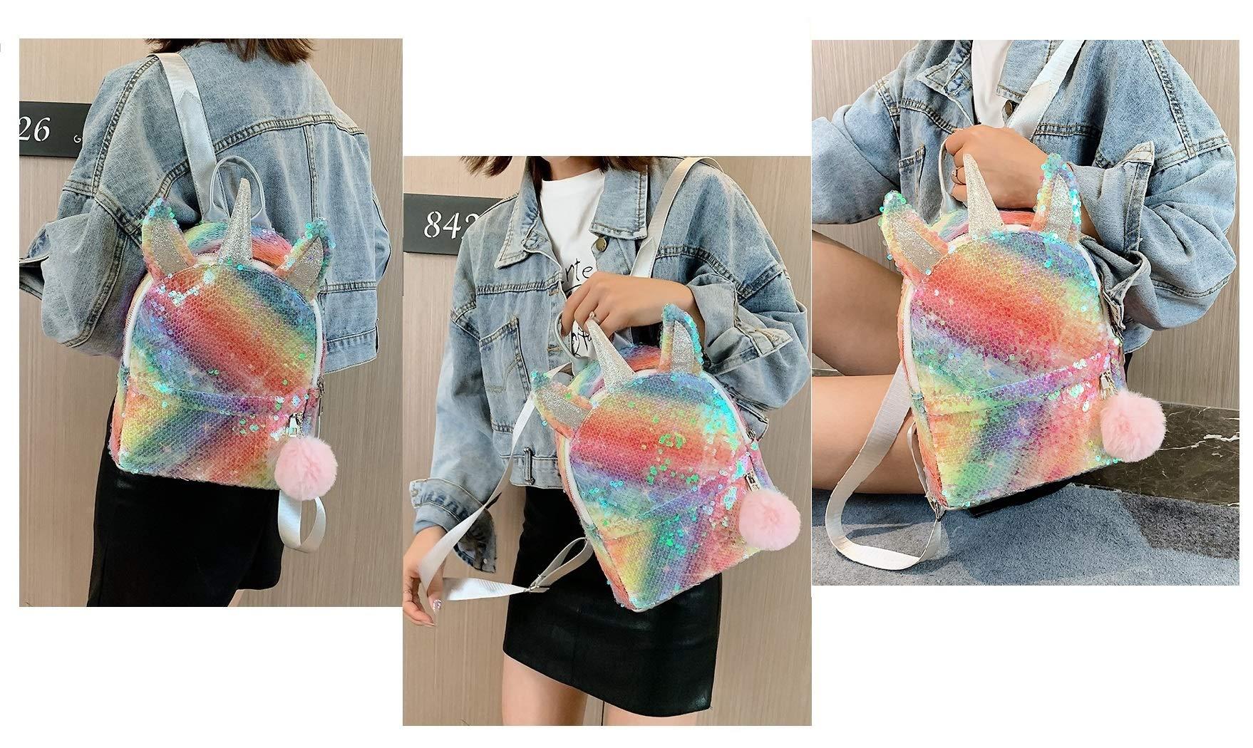Pink Rainbow Unicorn Backpack, Mini Waterproof Backpack for Girls Kids 4 Set (O - Rainbow Set 1)