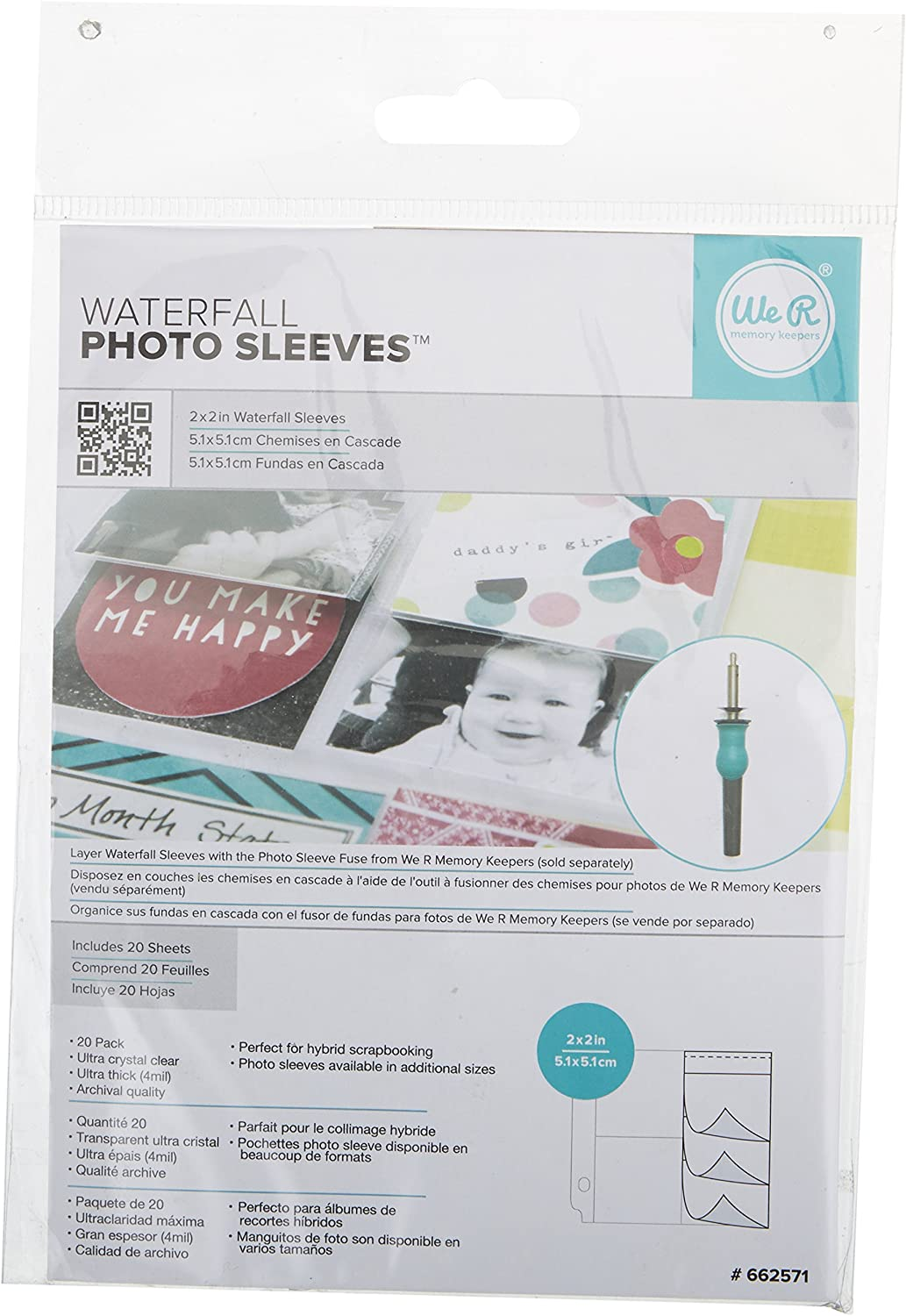 American Crafts We R Memory Keepers 20 Piece Photo Sleeves Waterfall 4 x 4/""