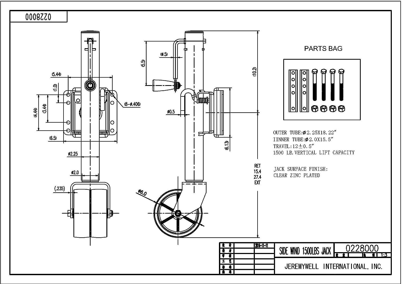 Jeremywell Swivel Trailer Jack Dual Wheel 1500 Lbs Capacity Swing-Back Boat RV Utility