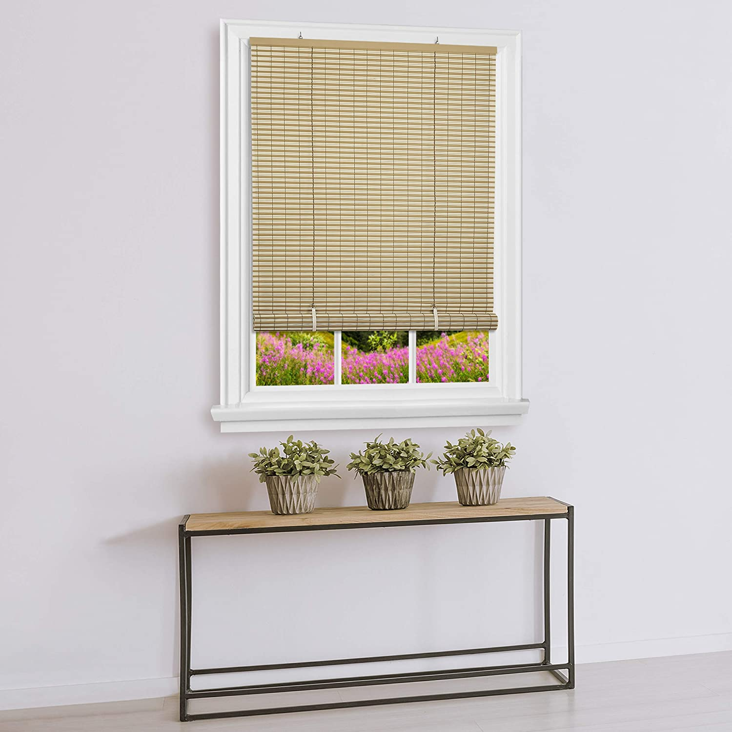 "Achim Home Furnishings Vinyl Roll-Up Blind Cordless Veranda, 30"" x 72"", Desert/Almond"