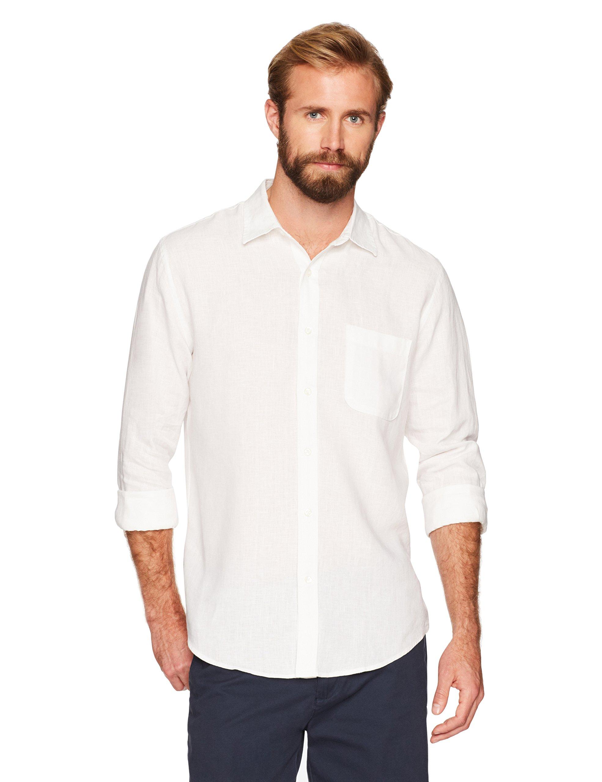 Essentials Mens Regular-Fit Long-Sleeve Linen Shirt