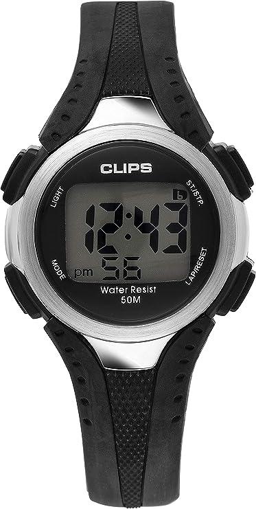Clips 539-6000-44 - Reloj de Pulsera Hombre, Caucho, Color Negro