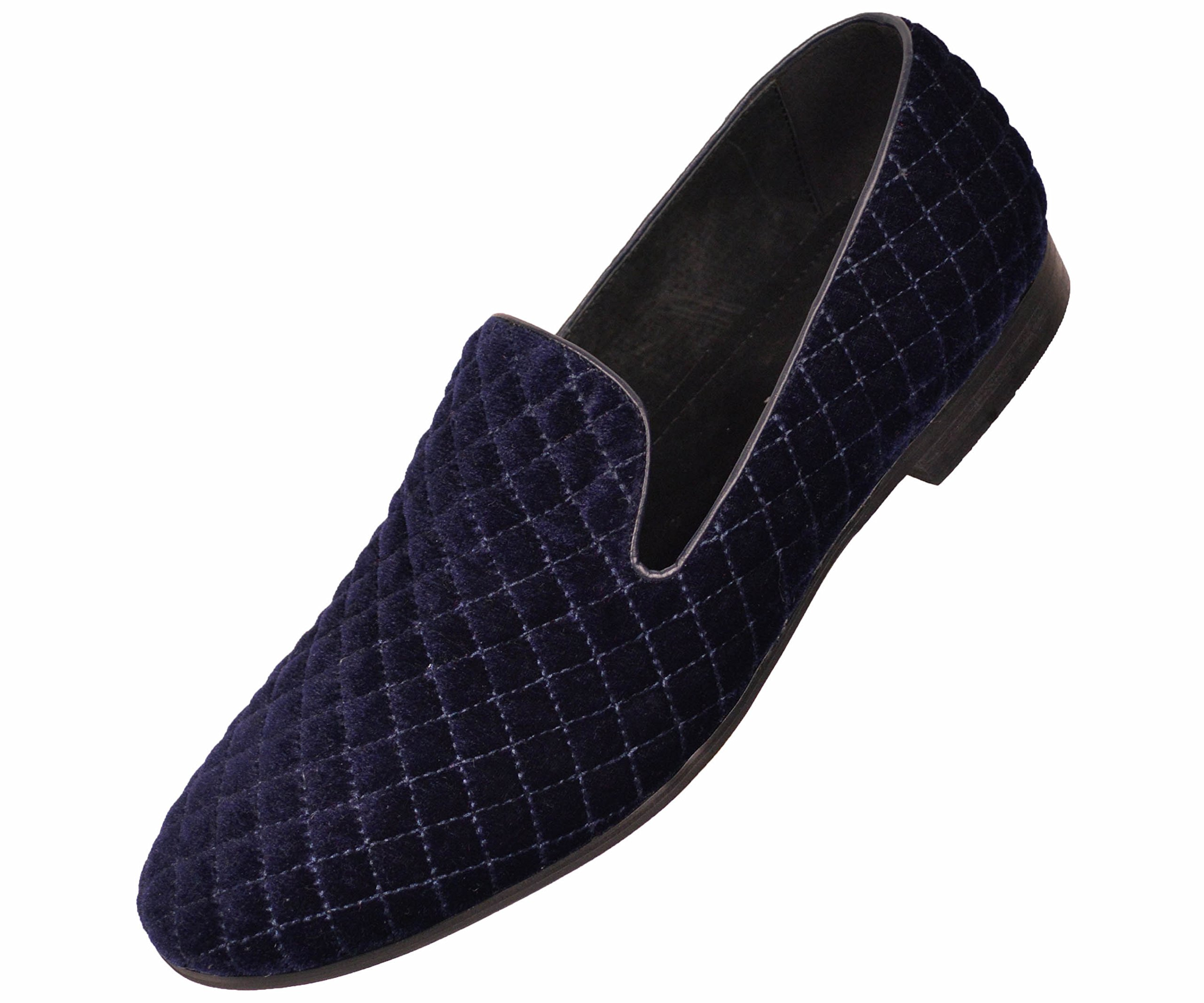 Amali Mens Classic Quilted Plush Velvet Smoking Slipper Slipper Style Ernest