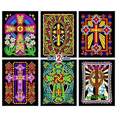Stuff2Color Crosses - 6 Pack of Fuzzy Velvet Coloring Posters: Toys & Games