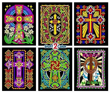 Amazon.com: Stuff2Color Crosses - 6 Pack of Fuzzy Velvet Coloring ...