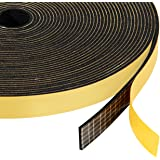 Adhesive Foam Tape Weather Stripiping (.50) 1/2 Inch Wide X 1/16 Inch Thick Black, Seal Gasket for Speaker, Door Insulation, Soundproofing, Rattle, 33 Ft Length