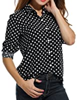 Meaneor Women's Long Sleeve Polka Dot Casual Loose Button Down Shirt
