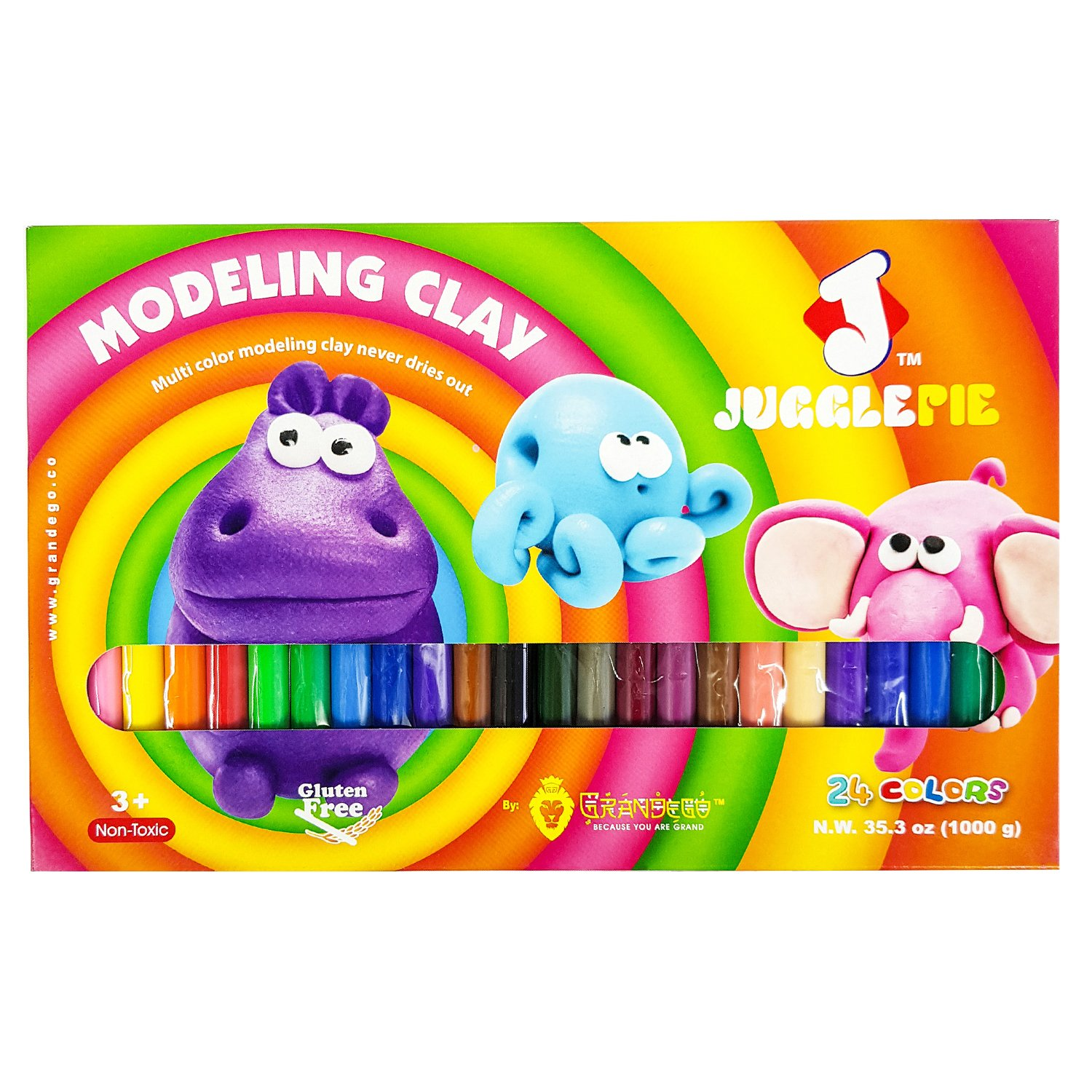 JUGGLEPIE Colorful Modeling Clay for Kids | Bulk of 2.2 Pound - Art Toys for Creative Children, Soft and Easy to Mold, Non-Hardening, Non-Toxic and Never Dries Out – 24 Color Sticks