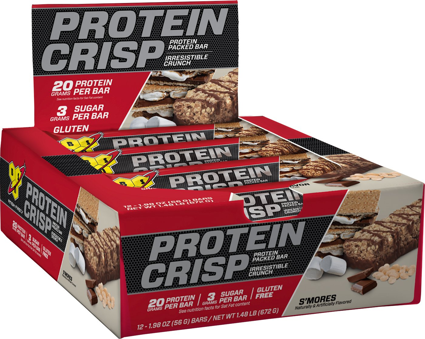 BSN Protein Crisp Bar by Syntha-6, Low Sugar Meal Replacement Whey Protein Bar, S'mores, 12 Count (Packaging may vary)