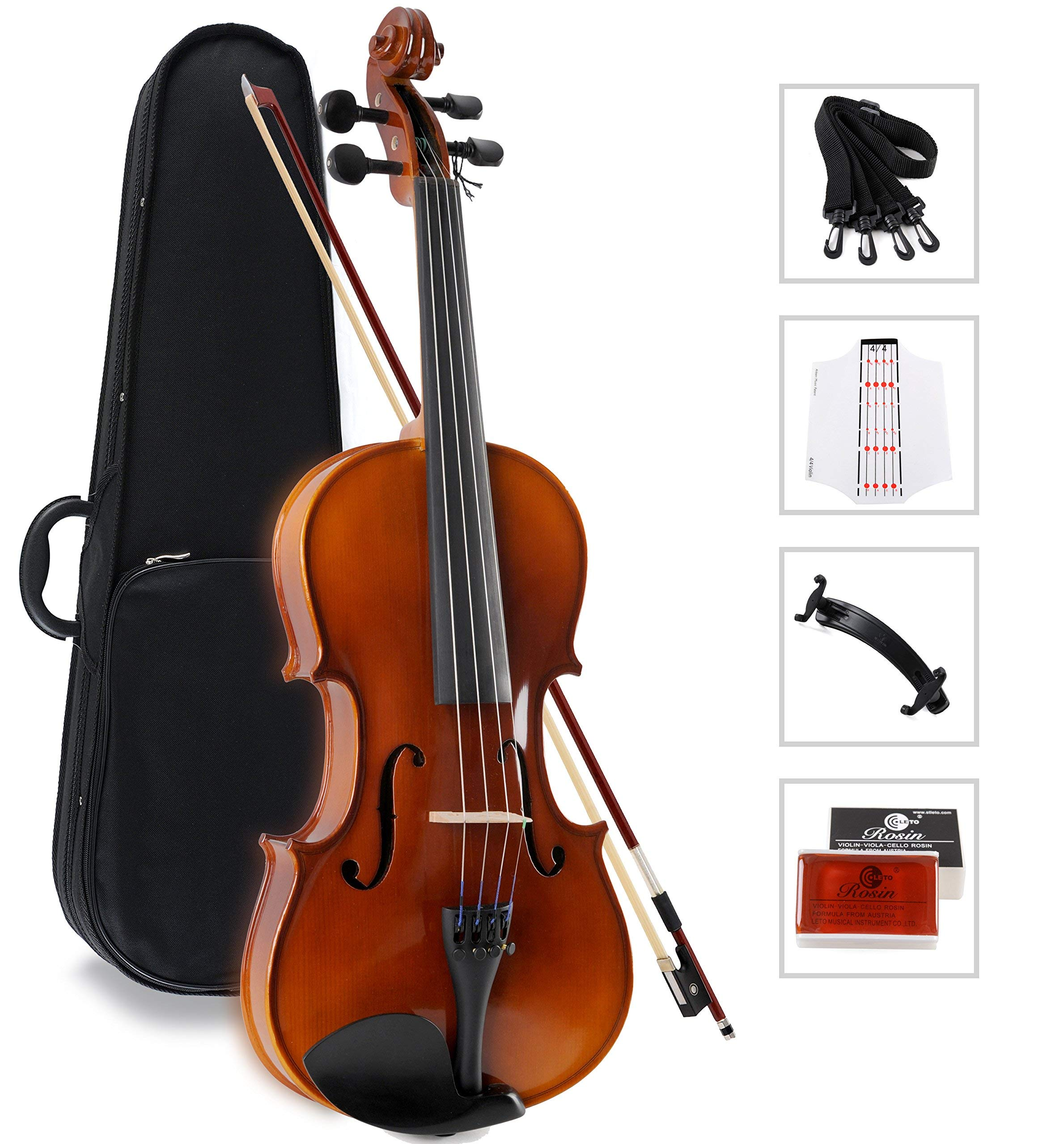 Aileen Solidwood Ebony Kids Students Beginners Violin Rental Shop Preference Outfit with Case, Rosin, Premium Strings, Shoulder Rest, Fingerboard Sticker (1/4)