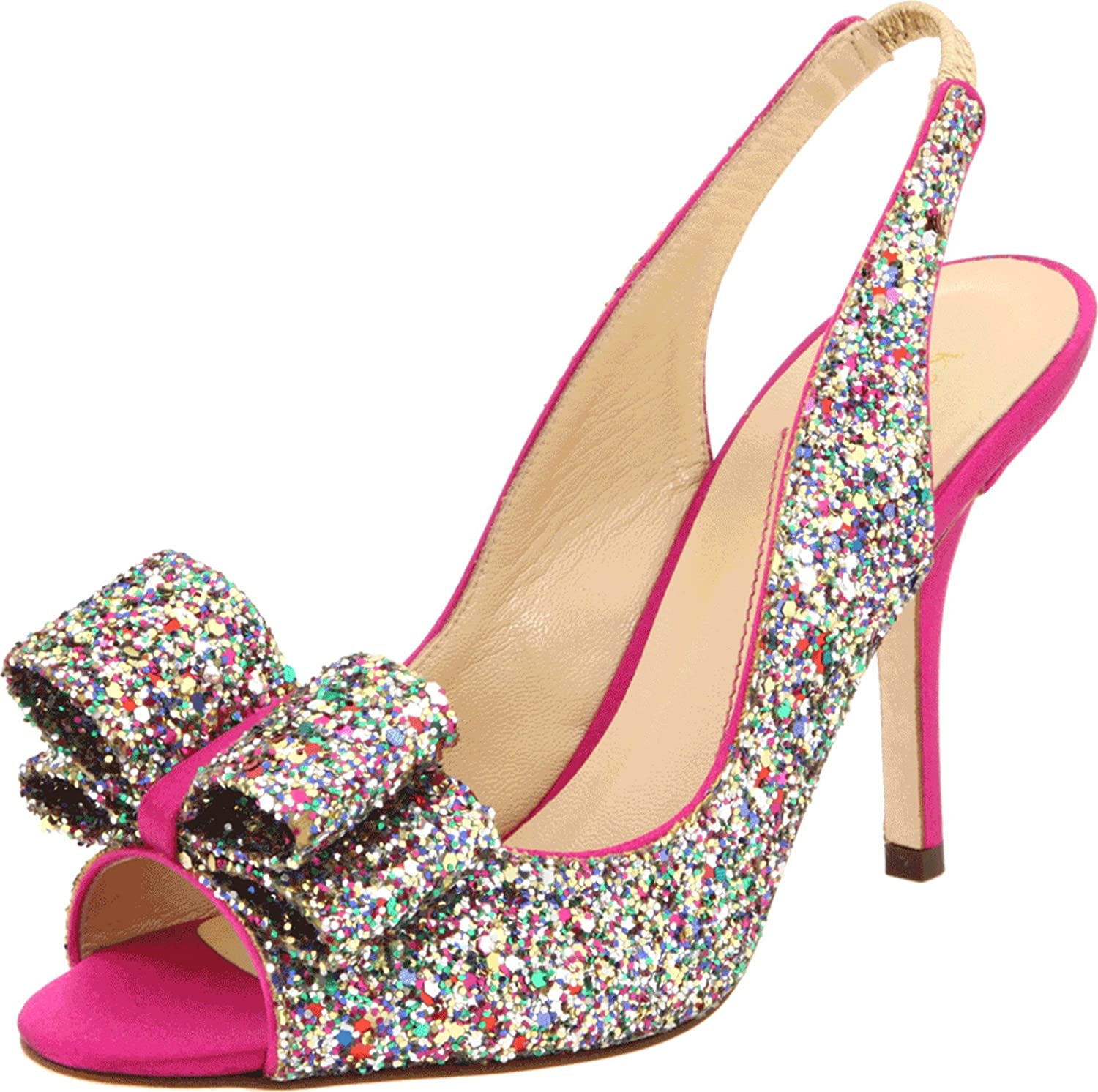 Women's Charming Hot Pink Heel Glitter Bow Slingback Pump by Kate Spade New York - DeluxeAdultCostumes.com