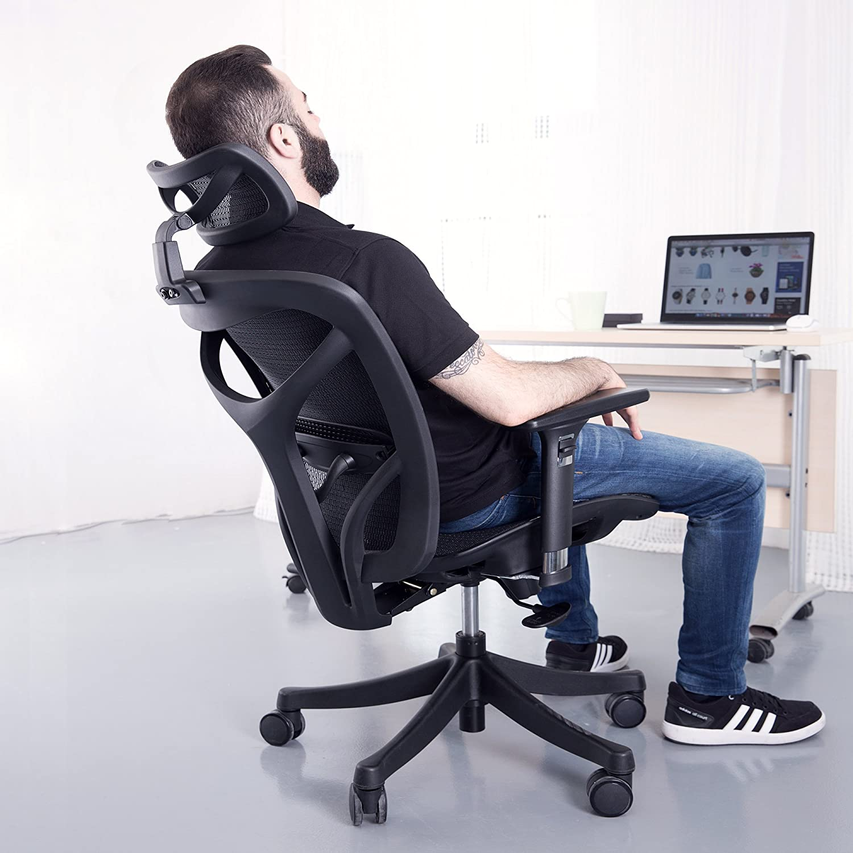 SIEGES Ergonomic High Mesh Office Adjustable Headrest, 3D Flip-up Arms, Back Lumbar Support Computer Desk Task Executive Chair, Black