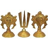 Nexplora Industries Brass Statue Sankha Chakra Naama in A Set Tirupati Bala Ji Religious Symbols of Lord Vishnu