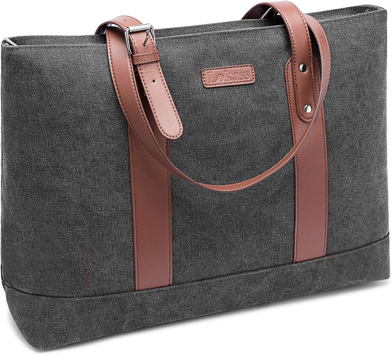 DTBG Laptop Tote Bag 15.6Inches Laptop Bag Nylon Shoulder Bag Women Briefcase Lightweight Handbag with Padded Compartment for Work Business Travel shopping(Dark Grey)