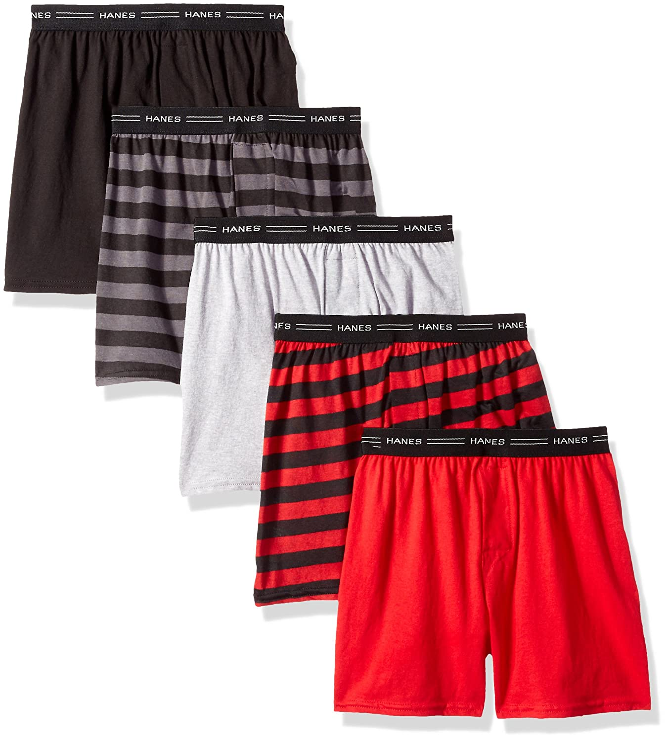 Hanes Boys' Exposed Elastic Knit Boxer Assorted Solids L Hanes Boys' Exposed B539P5