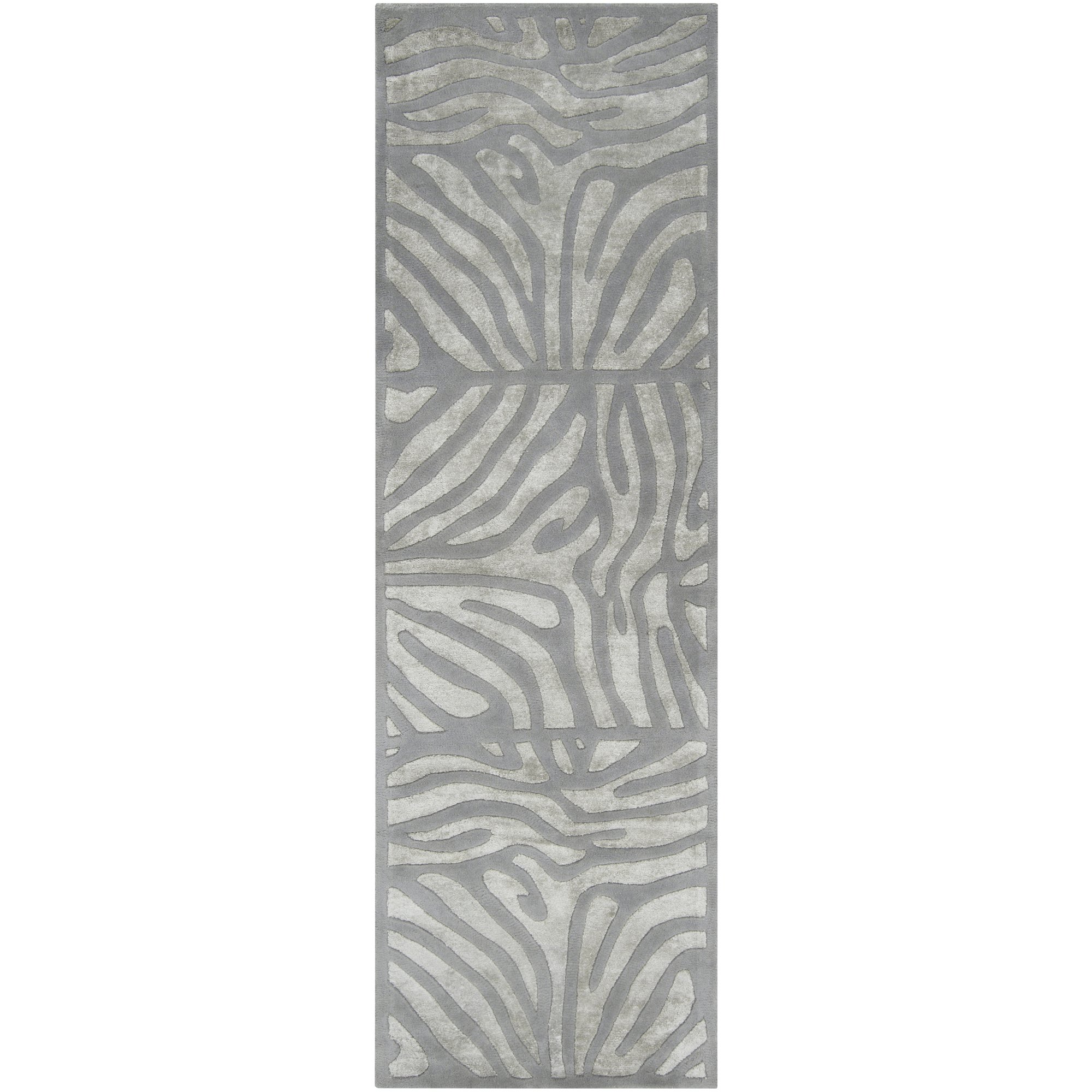 Candice Olson by Surya Modern Classics CAN-1935 Contemporary Hand Tufted 100% New Zealand Wool Silvered Gray 2'6'' x 8' Animal Runner