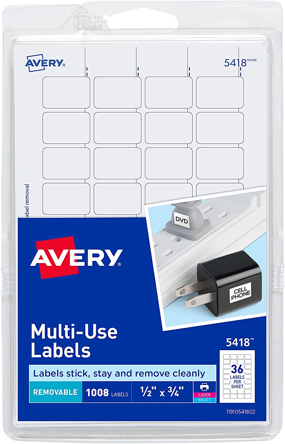 Avery Removable Print or Write Labels, White, 0.5 x 0.75 Inches, Pack of 1008 (5418) : All Purpose Labels : Office Products