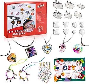 Tigerhu Girls Jewelry Making Kit - Jewelry Craft Kit,Custom Glass Pendant Necklace Set,Make Necklaces and Bracelets with Craft Supplies