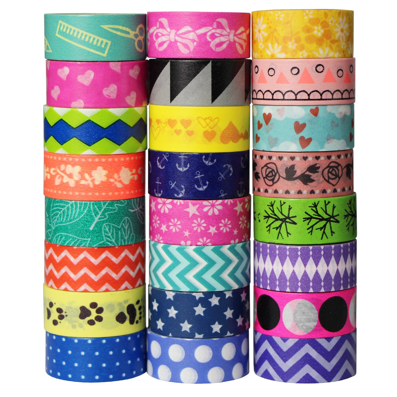 24 Rolls Decorative Washi Tape Set Masking Tape Sticker Tape Adhesive for DIY Decoration Scrapbooking Craft Gift (Design 9066) UOOOM 9039