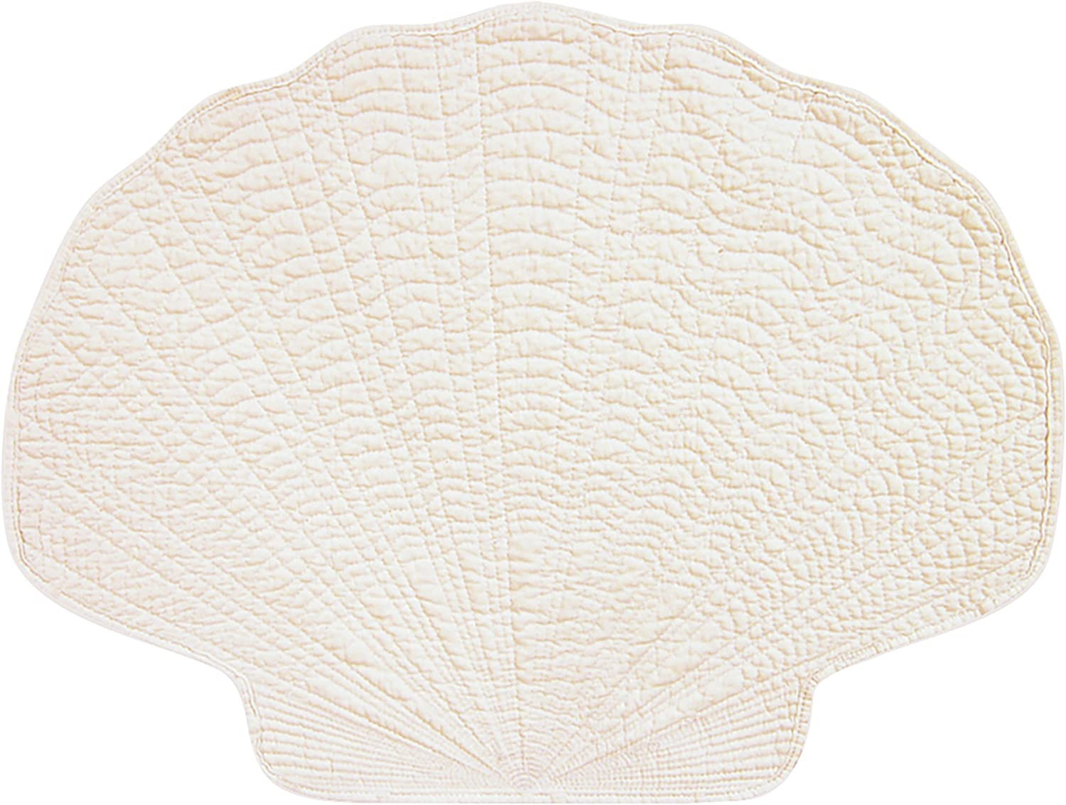 C&F Home White Shell Cotton Reversible Machine Washable Placemat Set of 4 Shell Placemat White